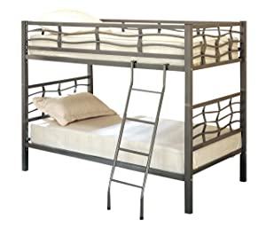 Fairfax Twin Bunk Bed with Ladder Light Gunmetal