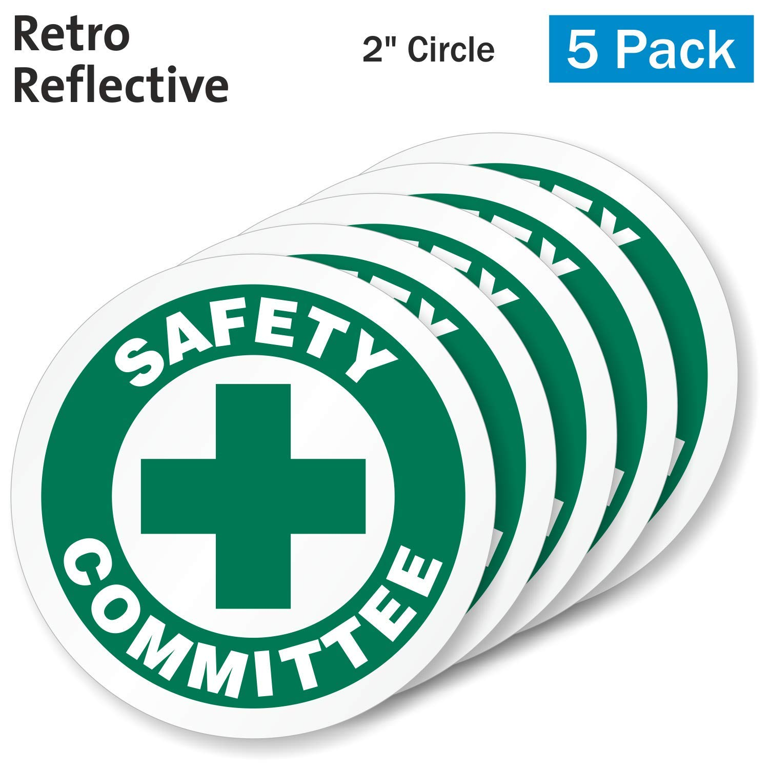 SmartSignSafety Committee Pack of 5 Hard Hat Labels Retro-Reflective 2 Circle