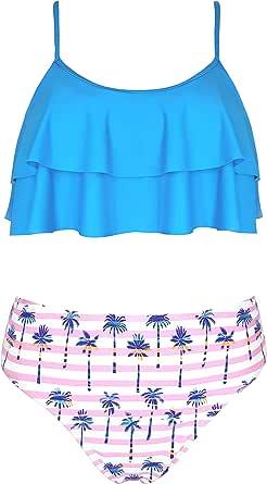 SHEKINI Mother and Daughter Swimwear Family Swimsuit Flounce Ruffle Bathing Suit