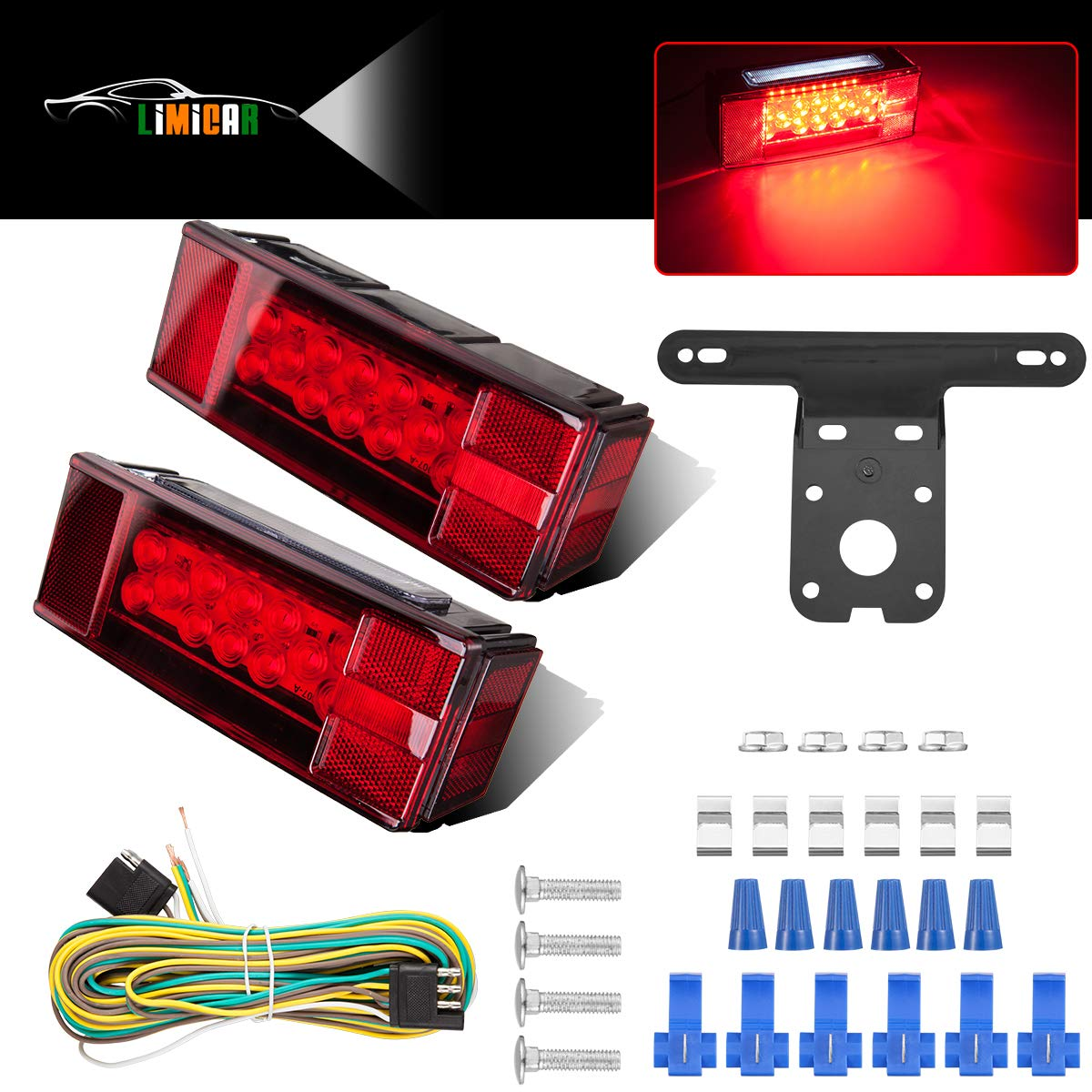 LIMICAR LED Trailer Lights Kit Waterproof 12V Led Rectangular Trailer Lights Stop Brake Turn Running Marker Lights with License Plate Bracket Wiring Harness for Truck Marine RV Boat Red White