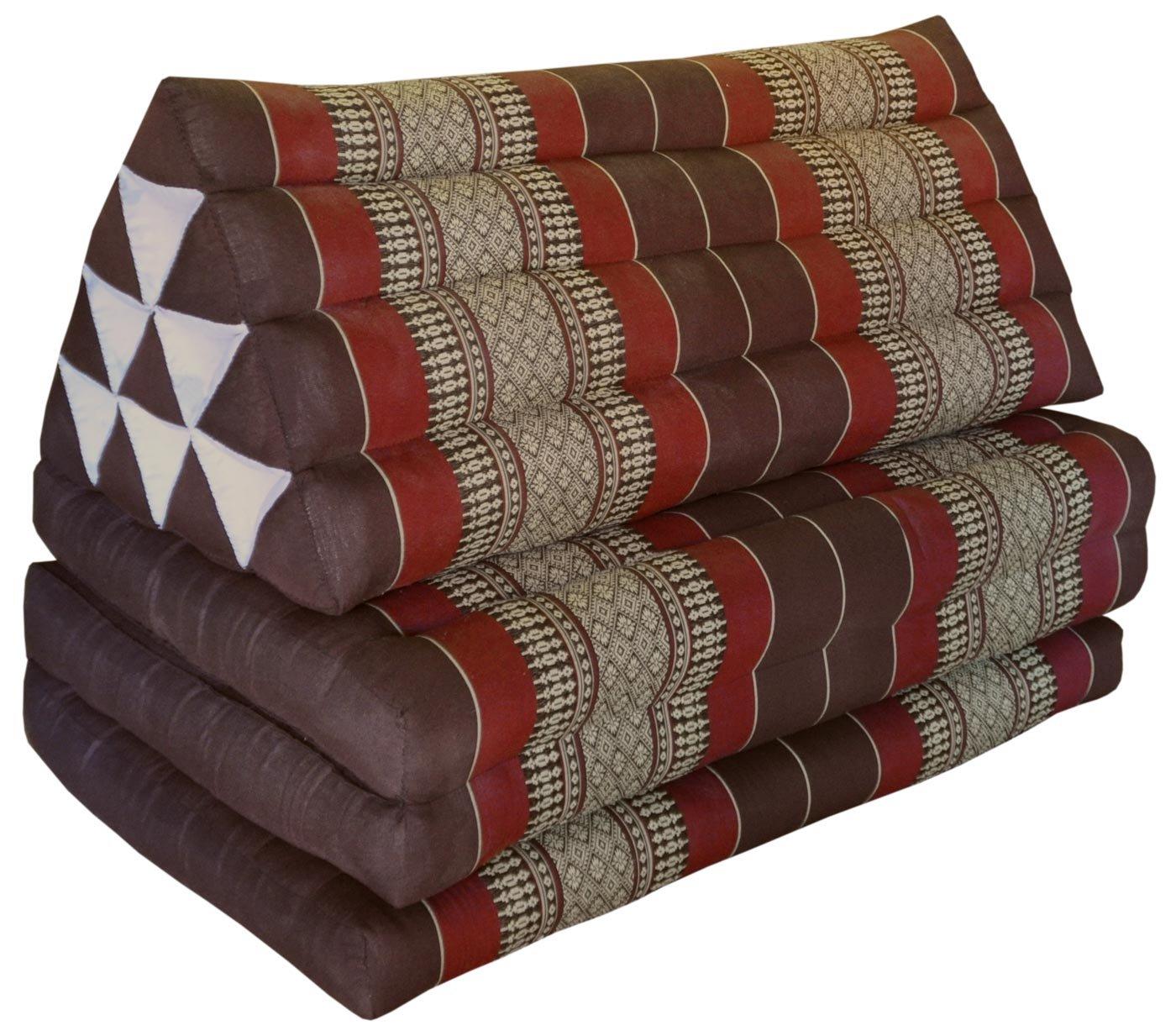 Thai triangle cushion/mattress XXL, with 3 folding seats, brown/burgundy, sofa, relaxation, beach, pool, meditation, yoga, made in Thailand. (82518)