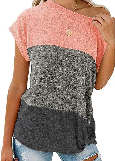 Wyxhkj Blusas Mujer Hombros Descubiertos Blusas Sin Mangas Sueltas Camisetas Manga Corta Costuras Color Sólido Camiseta Sin Tirantes Casual Camisas Mujer Verano: Amazon.es: Ropa y accesorios