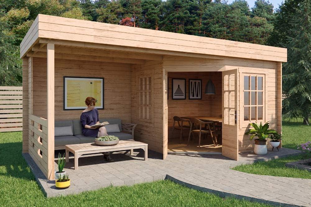 Carlsson Hanna-40 - Casa de jardín de madera con techo plano ...