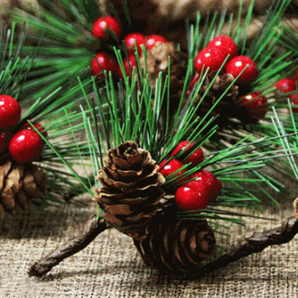 INFILM 10Pcs Natural Simulated Red Berry Pine Cone Branch,Artificial Christmas Red Berry Picks Stems for Greeting Card Wreath Garland Wedding Party Props Christmas Tree Holiday Decor