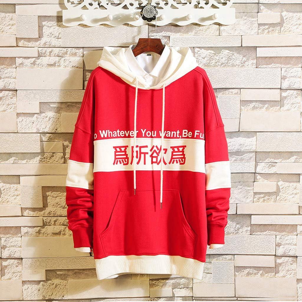 Mens Casual Loose Hoodie Words Printed Pullover Sweatshirt Colour Block Lightweight Athletic Tops
