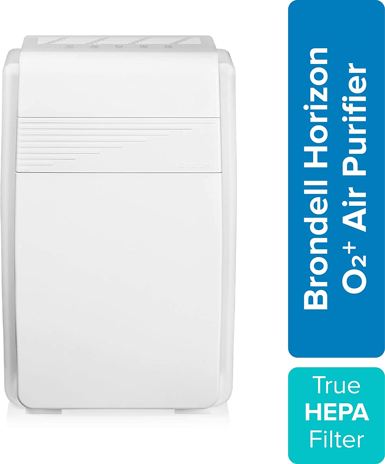 Brondell Horizon O2+ Air Purifier P200, 5 Stage Filtration System with True HEPA Filter and Intelligent Ion Technology – Dust, Mold, Smoke, and Allergy Relief, 560sf - CARB Certified