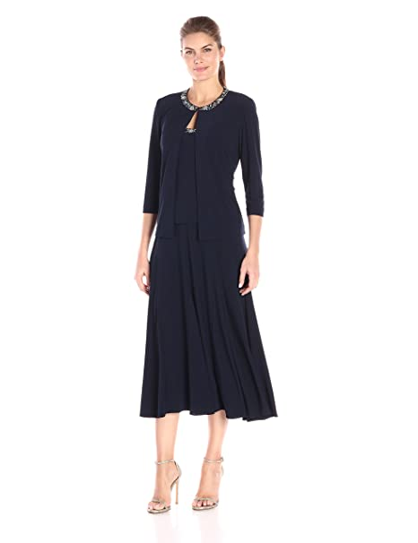 7d0ace86da6 Alex Evenings Women s 2 Pc T-Length Jacket Dress with Sequin Beaded Trim