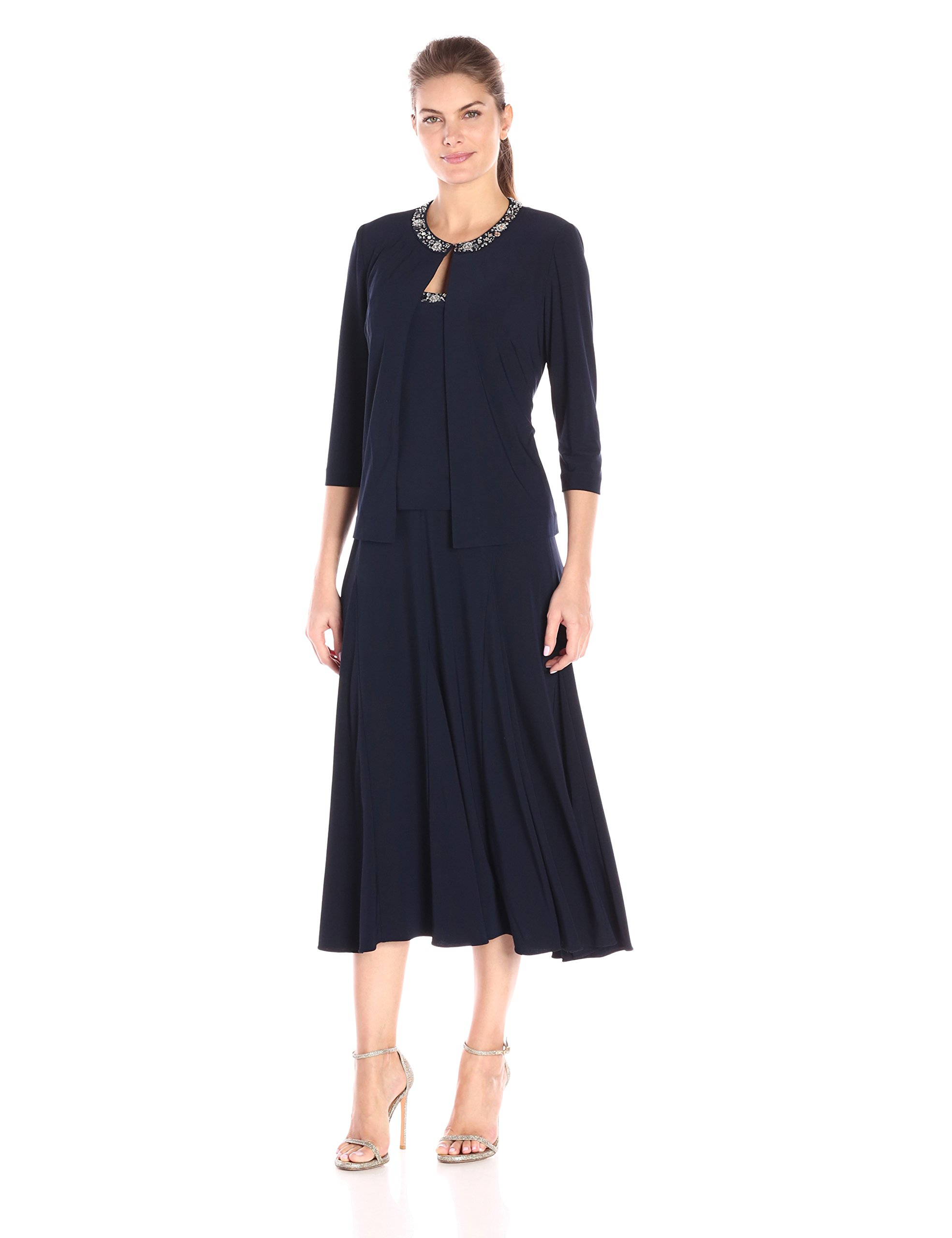 Alex Evenings Womens Plus 2PC Glitter Dress with Jacket