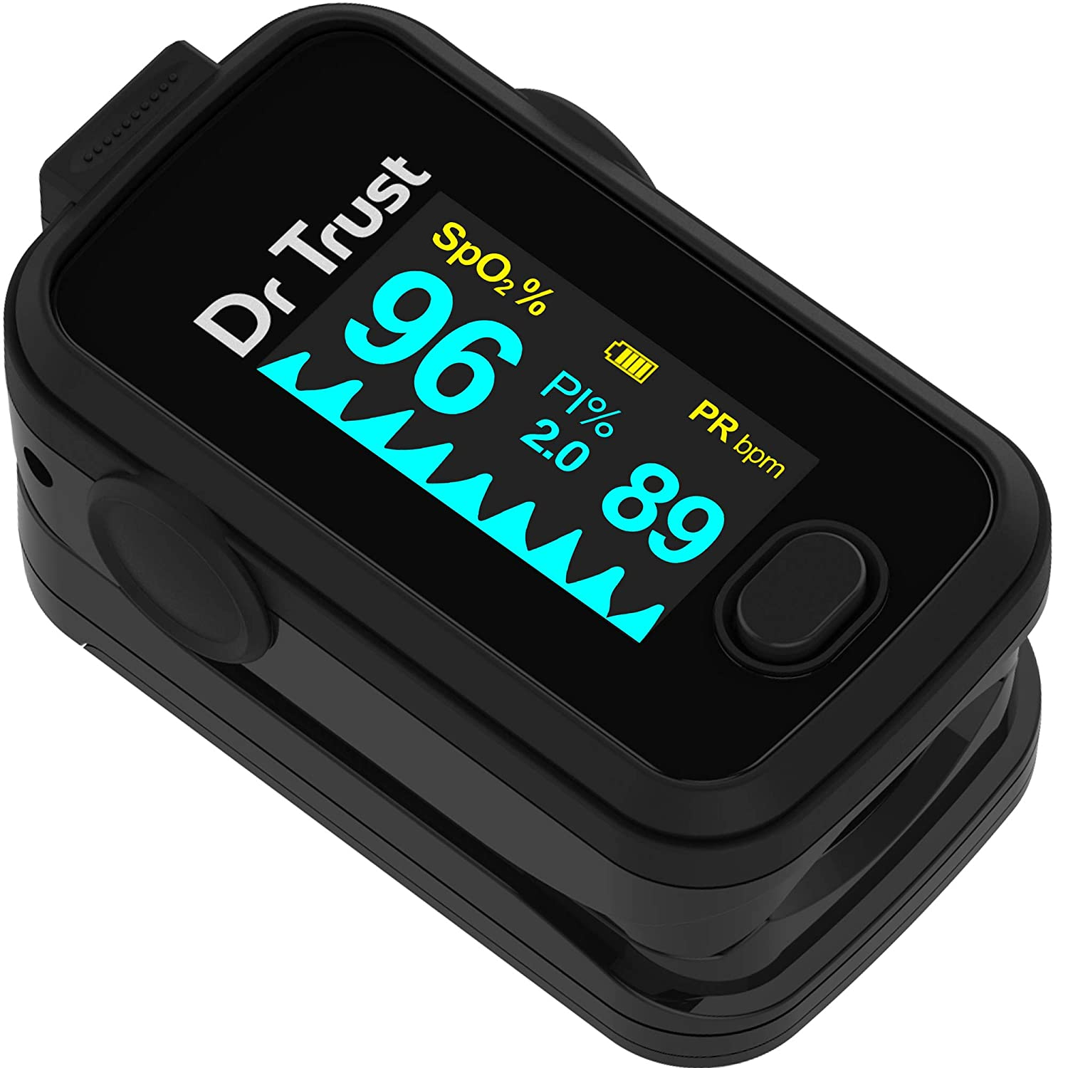 Dr. Trust Signature Series Fingertip Pulse Oximeter With Audio Visual Alarm (Midnight Black)- 201