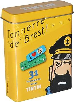 Caja metálica amarilla con tiritas de Tintín (16019): Amazon.es: Salud y cuidado personal