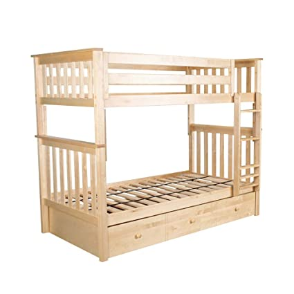 Amazon Com Plank Beam Solid Wood Bunk Bed With Trundle Twin Twin