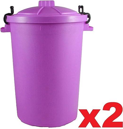 2 x morado 85 L 85L Extra grande color plástico cubo de la basura papelera de