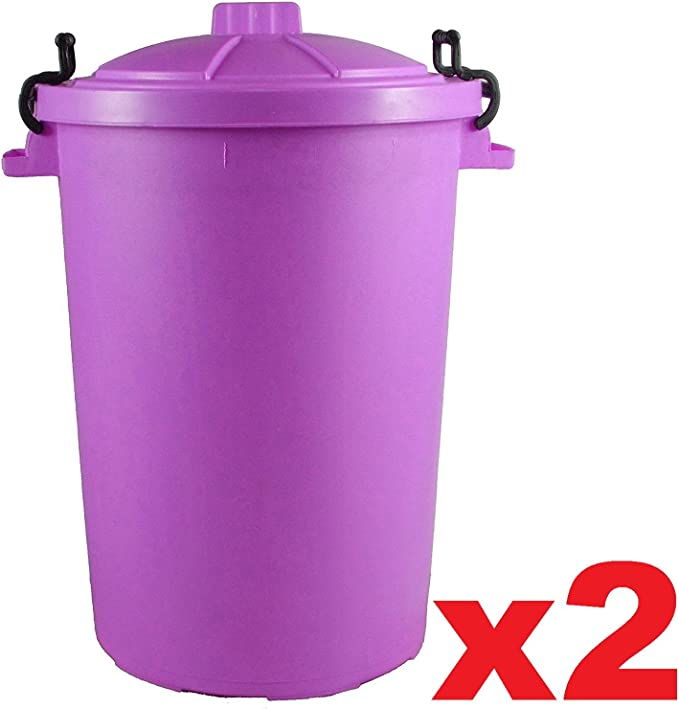 2 x morado 85 L 85L Extra grande color plástico cubo de la basura papelera de jardín Clip de bloqueo tapa resistente para basura reciclaje de la basura alimentación Animal de almacenamiento