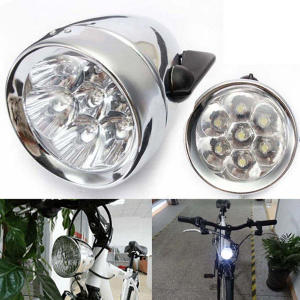 Negro vap26 /Útil Luz Bicicleta 3 LED Vintage Retro Classic Bicicleta Bici Delantero L/ámpara Free Size
