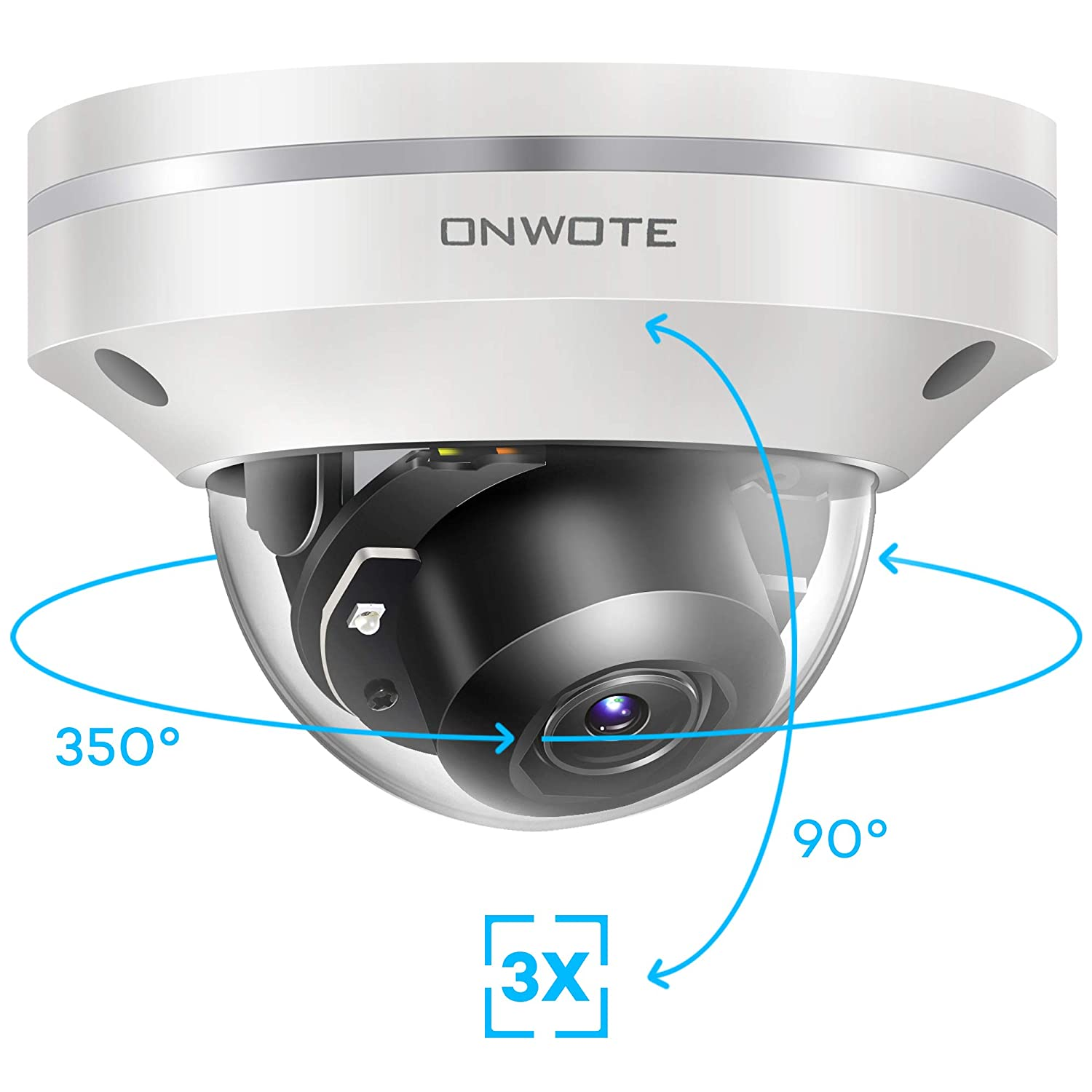 ONWOTE 5MP 2592 1944P HD PTZ PoE IP Security Camera Outdoor Dome, 350 Pan 90 Tilt 3X Optical Zoom Autofocus, 2.8-8mm Motorized Lens, IP66 Waterproof, 5 Megapixels Super HD Onvif Ethernet Camera