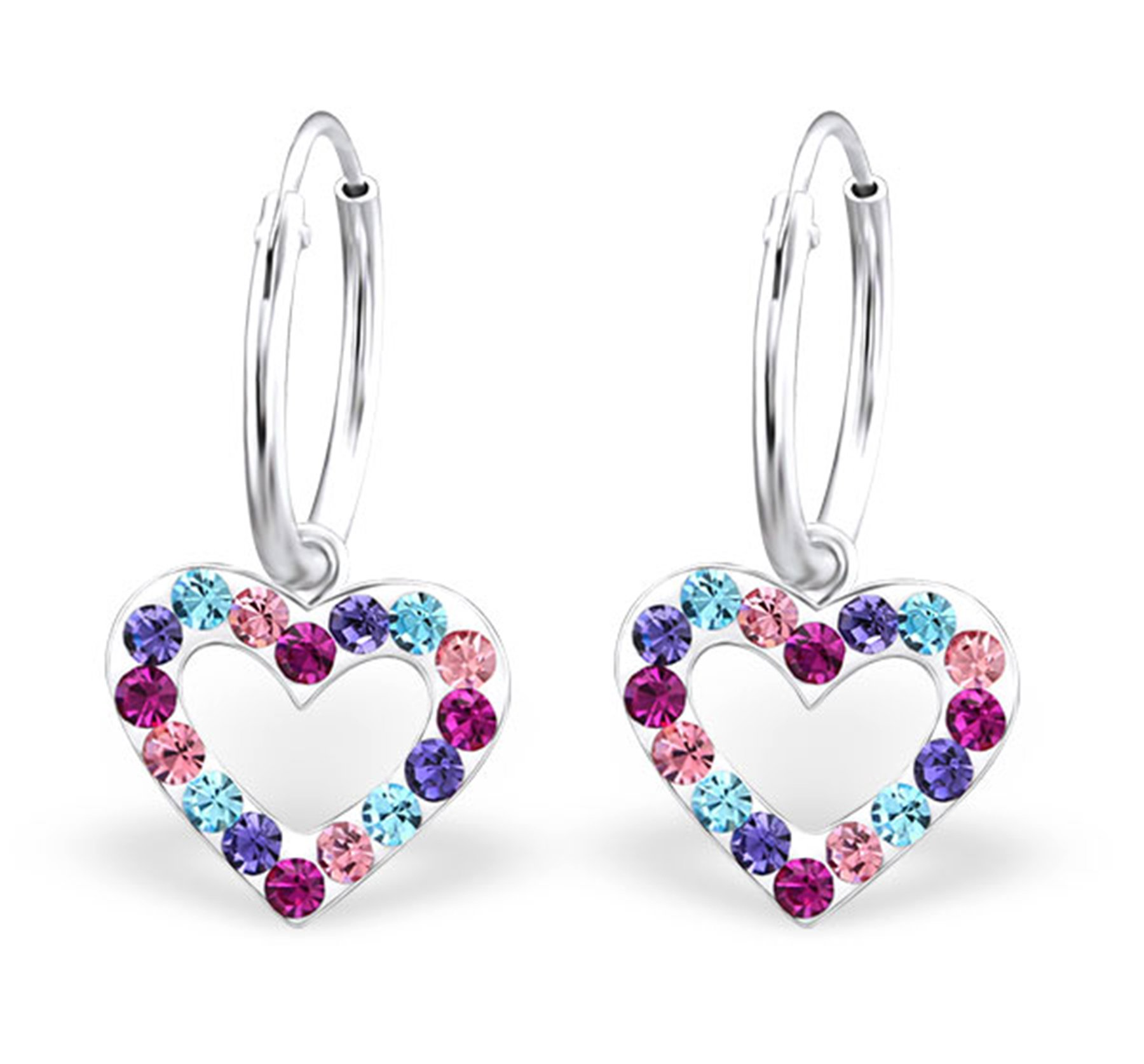 Best Wing Jewelry .925 Sterling Silver Heart/w Crystal Dangle Hoop Earrings For Woman, Teen and Girl (Blue, Purple and Pink Multi-Color)