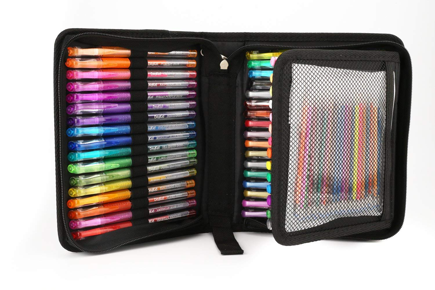 96 Color Artist Gel Pen Set, includes 24 Glitter Gel Pens 12 Metallic, 6 Pastel,6 Neon, plus 48 Matching Color Refills, More Ink Largest Non-Toxic Art Neon Pen for Adults Coloring Books Craft Doodling Drawing by DasKid (Image #2)