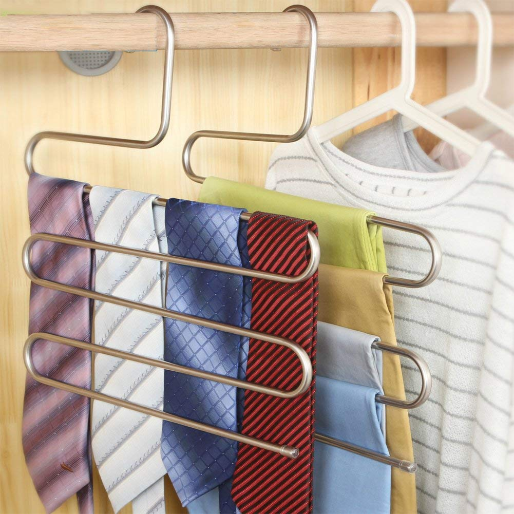 SUZEDA 6-Pieces S Type 5 Layer Stainless Steel Hanger with Multi-Purpose for Pants Cloths Tie Scarf
