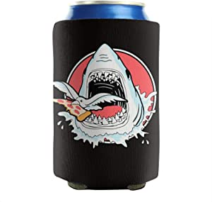12-16 OZ Bottles Neoprene Insulated White Shark Bird Pizza Beer Can Sleeves Non-Slip Can Cooler Covers Party Can Sleeve Covers Keeps Drinks Cold Set Of 2