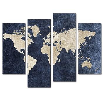 Amosi art 4 panel blue map painting world map with mazarine amosi art 4 panel blue map painting world map with mazarine background picture print on gumiabroncs Choice Image