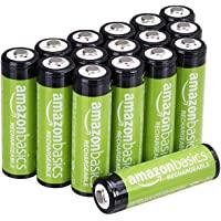 AmazonBasics - Juego de 16 pilas recargables AA Ni-MH (precargadas, 1000 ciclos, 2000 mAh / mínimo 1900 mAh) - La cubierta exterior puede variar