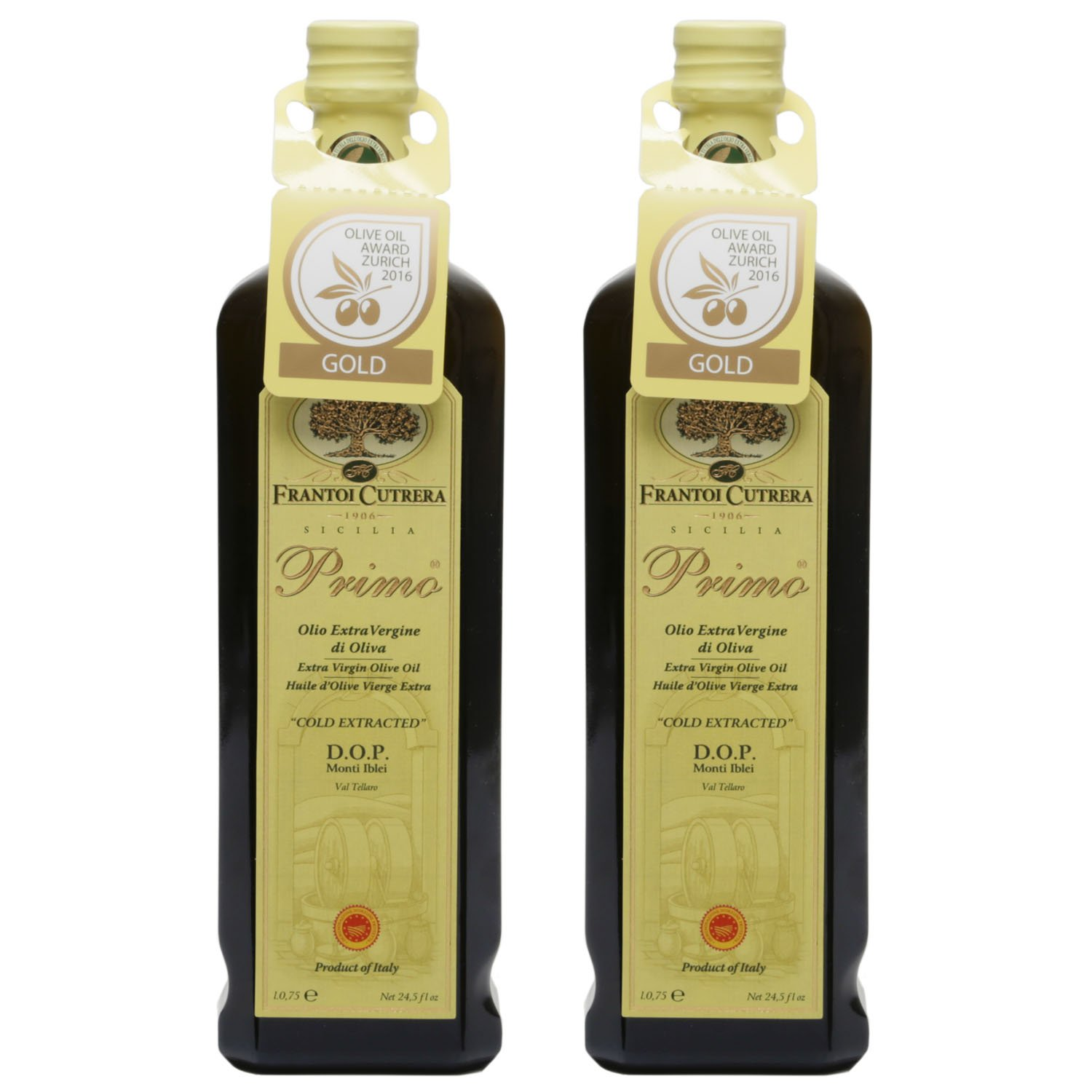 Frantoi Cutrera - Primo - Cold Extracted Extra Virgin Olive Oil, Imported from Italy, 24.5 fl oz - Pack of 2 by Frantoi Cutrera