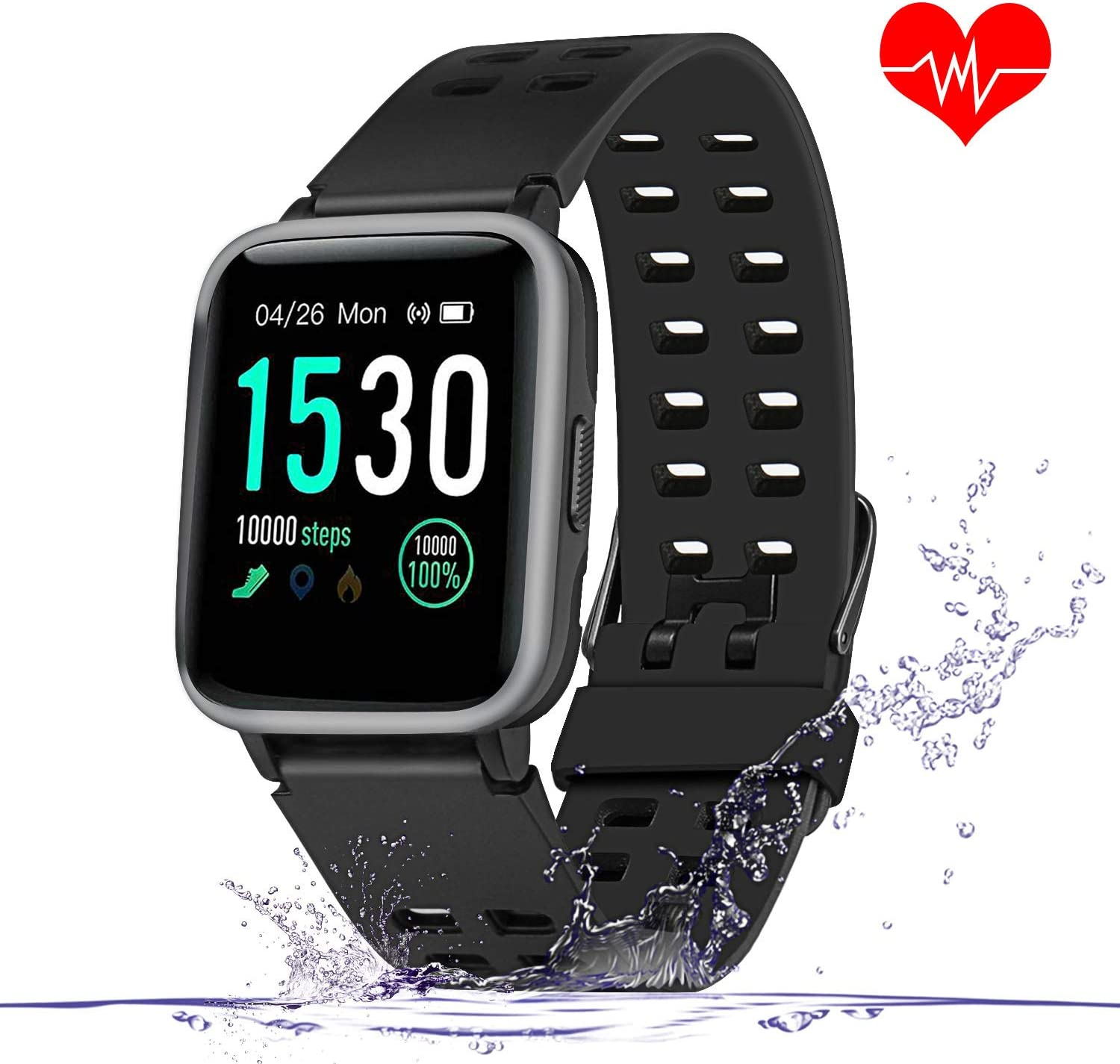 Enow Smart Watch, IP68 Waterproof Touch Screen Bluetooth Fitness Tracker with All Day Heart Rate Monitor, Sleep Tracker, 14 Sports Mode, Pedometer Step Calories Counter for Women Men, Android iOS