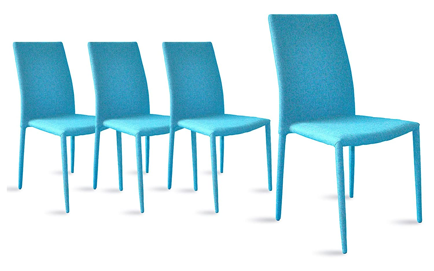 Dining Room Chairs Set of 4, Fabric Chair for Living Room 4 Pieces (Blue)