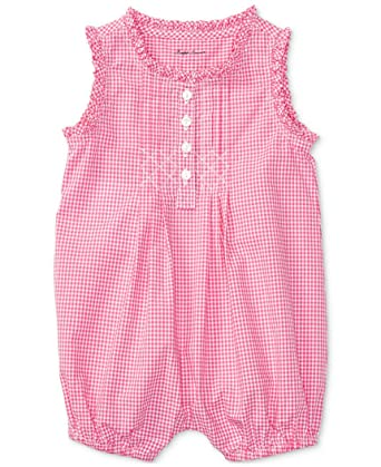 4b8cbb9961 Amazon.com: RALPH LAUREN Baby Girl Gingham Cotton Shortall Pink ...