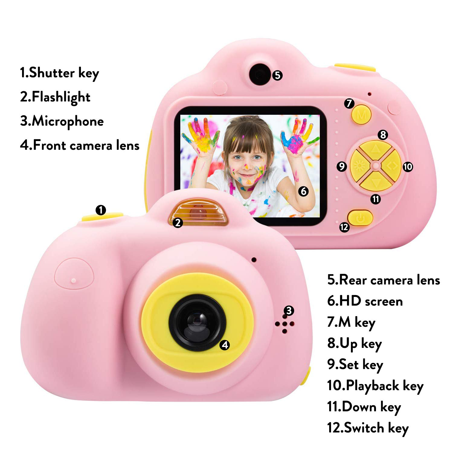 DIIGIITO Kids Camera Gifts for 4-8 Year Old Girls, Shockproof Cameras Great Gift Mini Child Camcorder for Little Girl with Soft Silicone Shell for Outdoor Play,(16GB Memory Card Included) (Pink) by DIIGIITO (Image #3)