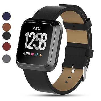 Correa de piel auténtica iFeeker para reloj inteligente Fitbit Versa, color negro: Amazon.es: Deportes y aire libre