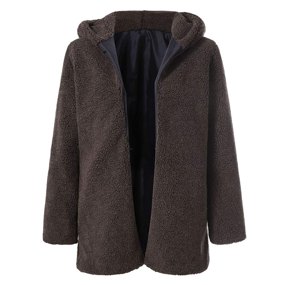 Quelife Women's Fashion Zipper Plush Winter Hooded Long Sleeve Warm Coat Jacket(Brown,S)