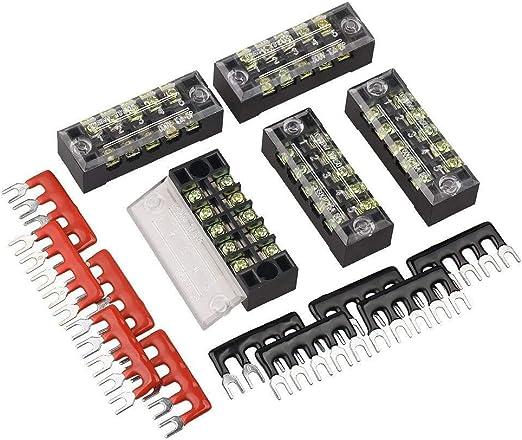 400V 15A 5 Positions Pre-Insulated Terminal Barrier Strip 10pcs Mecion 600V 15A 5 Positions Dual Row Screw Terminal Strip Blocks