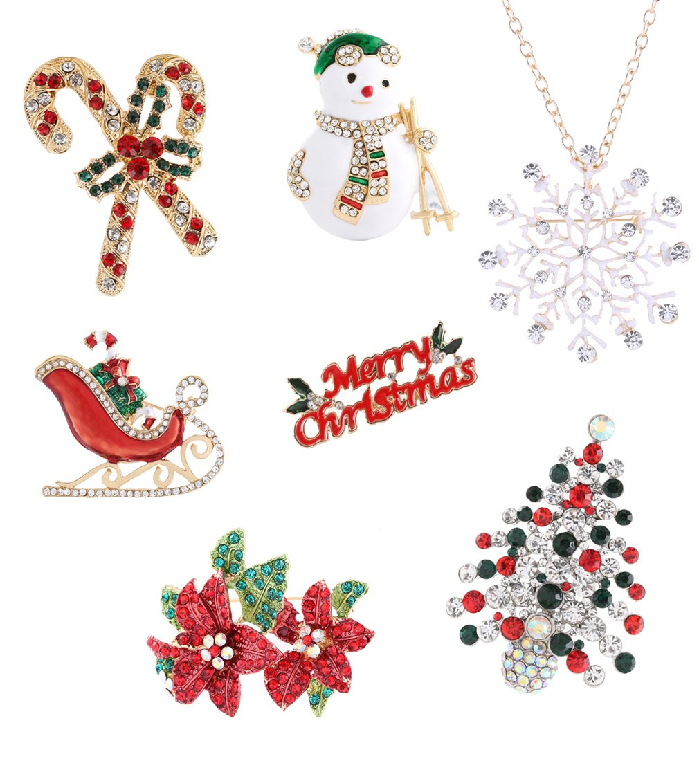 Boderier Christmas Xmas Holiday Snowflake Sled Snowman Brooches Pin Jewelry Gift (7pcs/set)