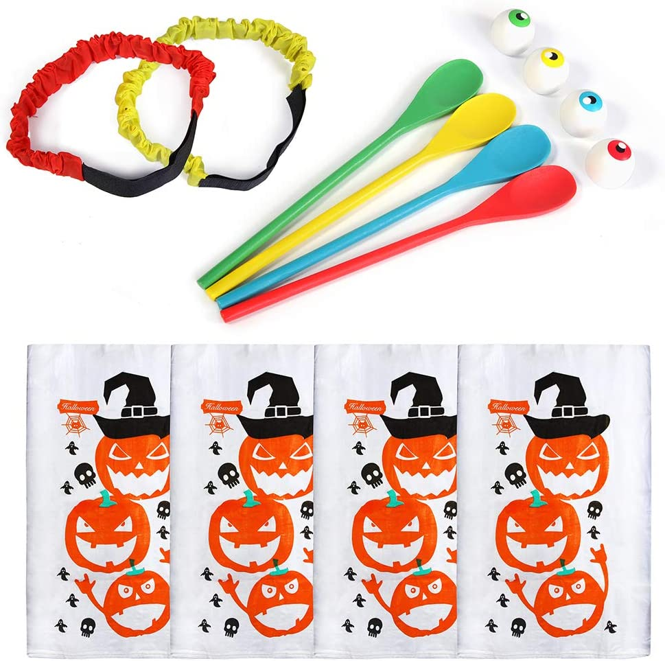 Twister.CK Giochi per Feste di Halloween Sacchi da Corsa con Sacco di Zucca Ideali per Forniture per Feste di Halloween Giochi di Gare con Uova e cucchiai Borse per Giochi da Giardino allaperto