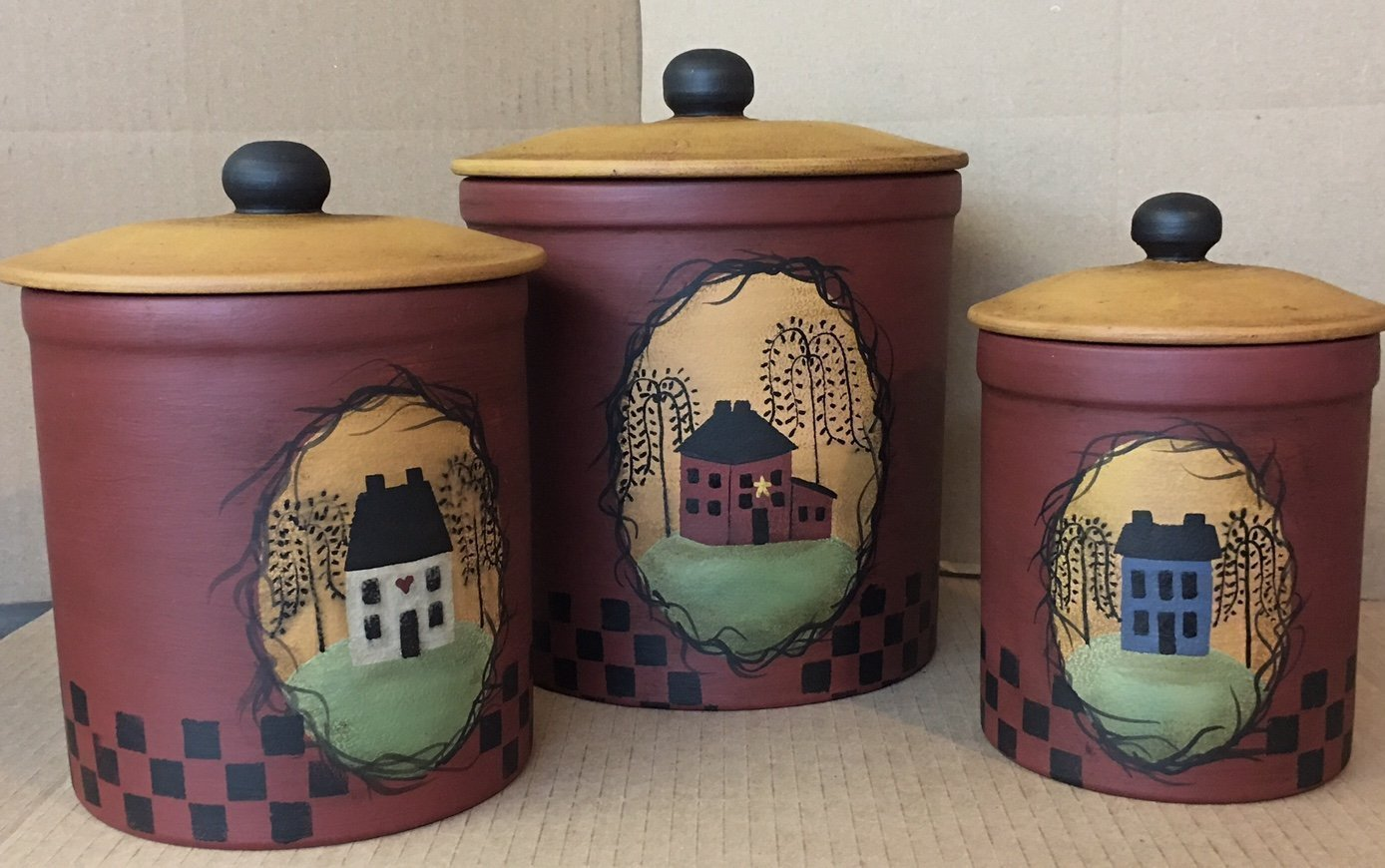Primitive Country Decor Colonial Farmhouse Style Saltbox House Stoneware Canister 3 Piece Set