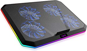 Havit RGB Laptop Cooling Pad for 12-17 Inch Laptop with 4 Quiet Cooling Fans, Ergonomic Comfort Notebook Cooler, Light-Weight Gaming Laptop Cooler Stand