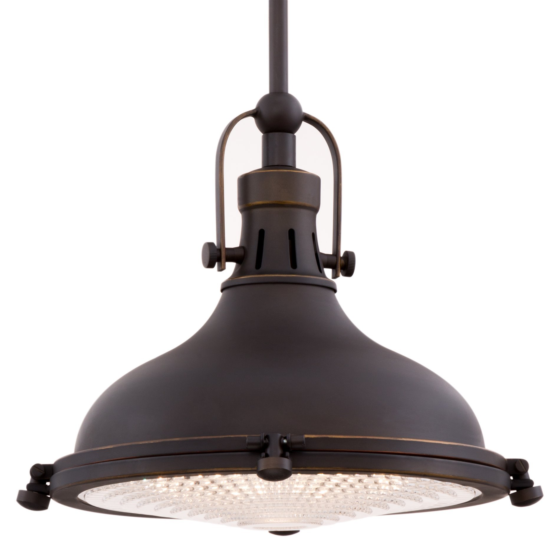 Revel Beacon 11'' Vintage Industrial Pendant Light with Fresnel Lens, Oil-Rubbed Bronze Finish by Revel