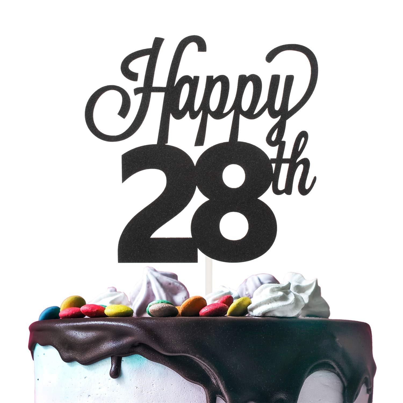 28th Happy Birthday Cake Topper Premium Double Sided Black Glitter ...