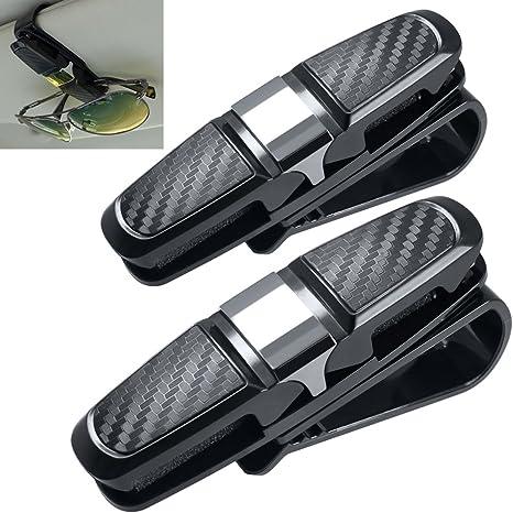 homEdge Sun Visor Clip Car Sunglasses Clip Glasses Hanger Mount with Card Clip-Silver 2 Packs Sunglasses Holder for Car Sun Visor