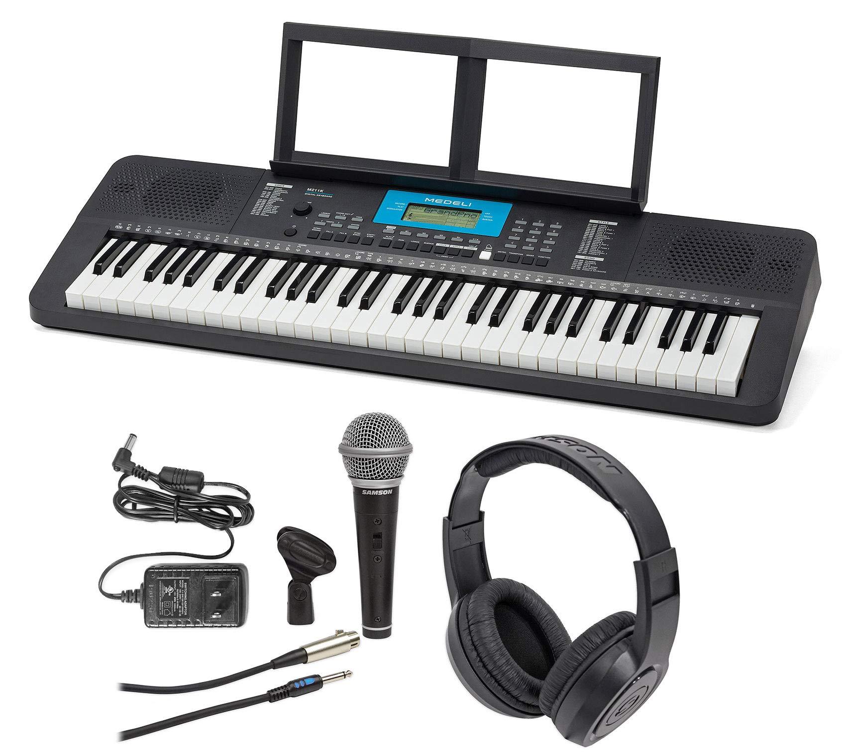 MEDELI M211K 61-Key USB MIDI Keyboard 32-Note Polyphony+Mic+Headphones+Adapter