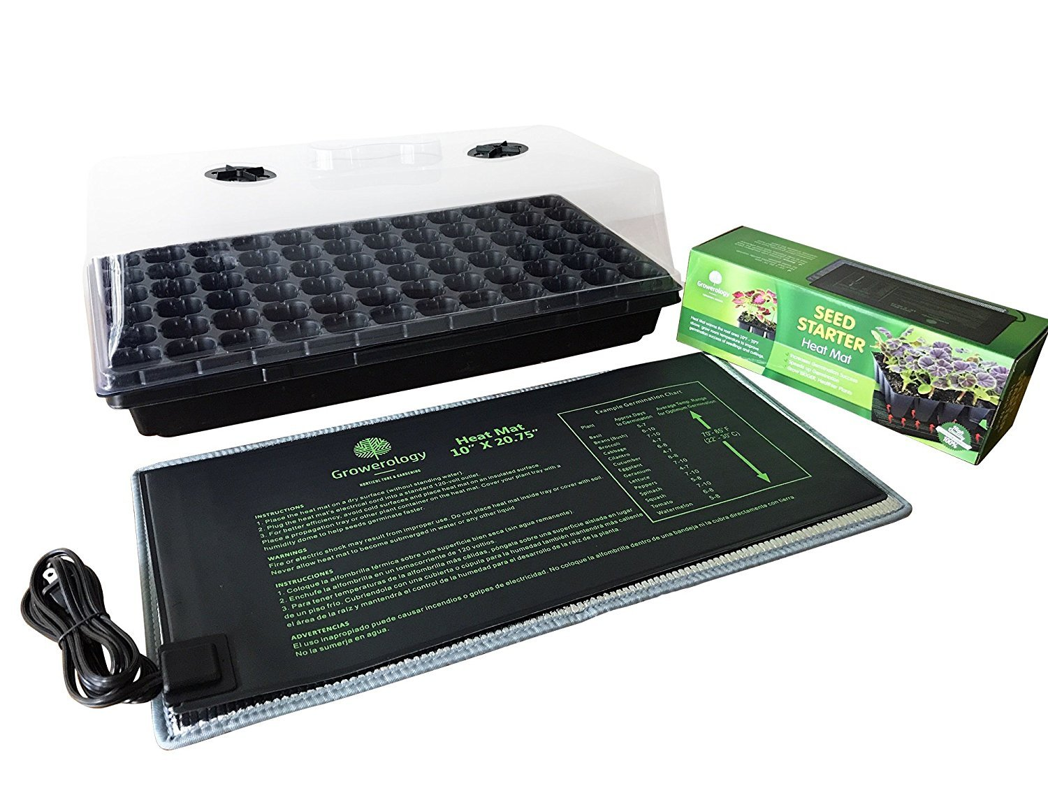 Heat Mat with Seed Germination Tray and Humidity Dome - Adjustable Vents, 72-cell seedling insert
