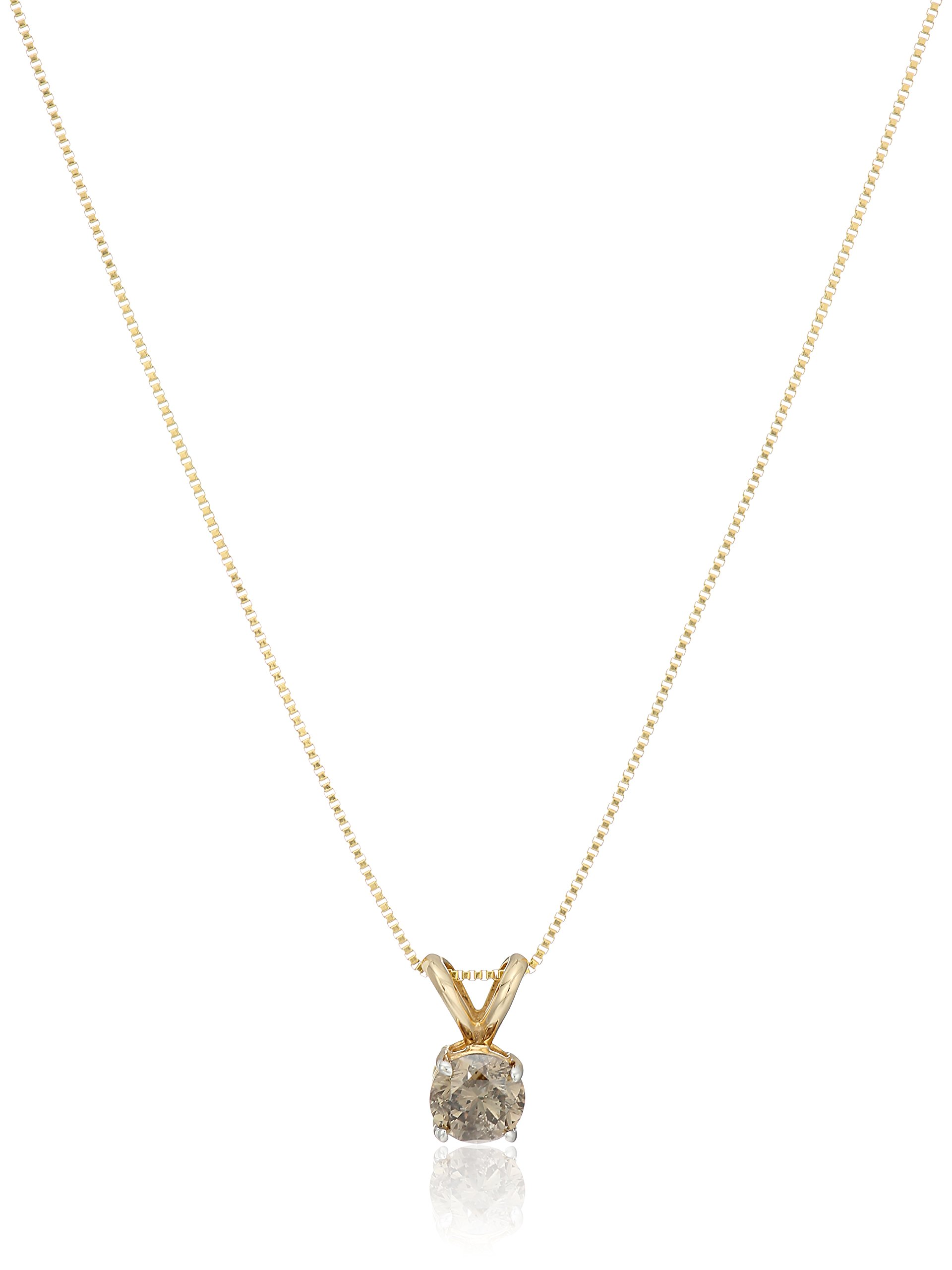 , 18''14k Yellow Gold Champagne Diamond Solitaire Pendant Necklace (1/2cttw, I2-I3 Clarity), 18''