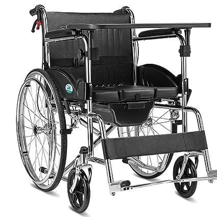 ZZHF Silla de Ruedas Silla de Ruedas Plegable Manual de Aluminio Discapacitado Silla de Ruedas discapacitados