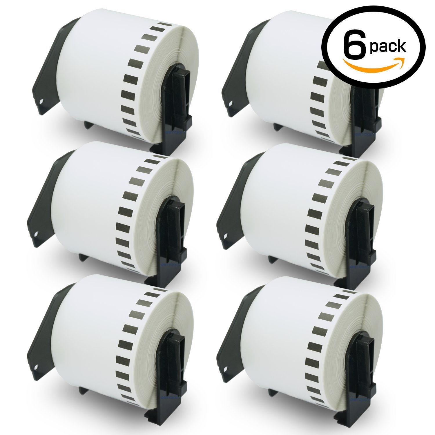 6 Rolls Brother-Compatible DK-4205 Removable Continuous Labels Black on White 62mm x 30.48M(2-3/7'' x 100') With Refillable Cartridge