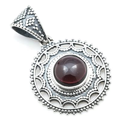Pendant 925 sterling silver with garnet 13 mm x 27 mm (MAH 114) xq9dLfE2fb