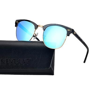 31ddfcdbbb4 Polarized Clubmaster Sunglasses Half Frame Horned Rimmed Vintage  Semi-Rimless Acetate Metal Men Women (