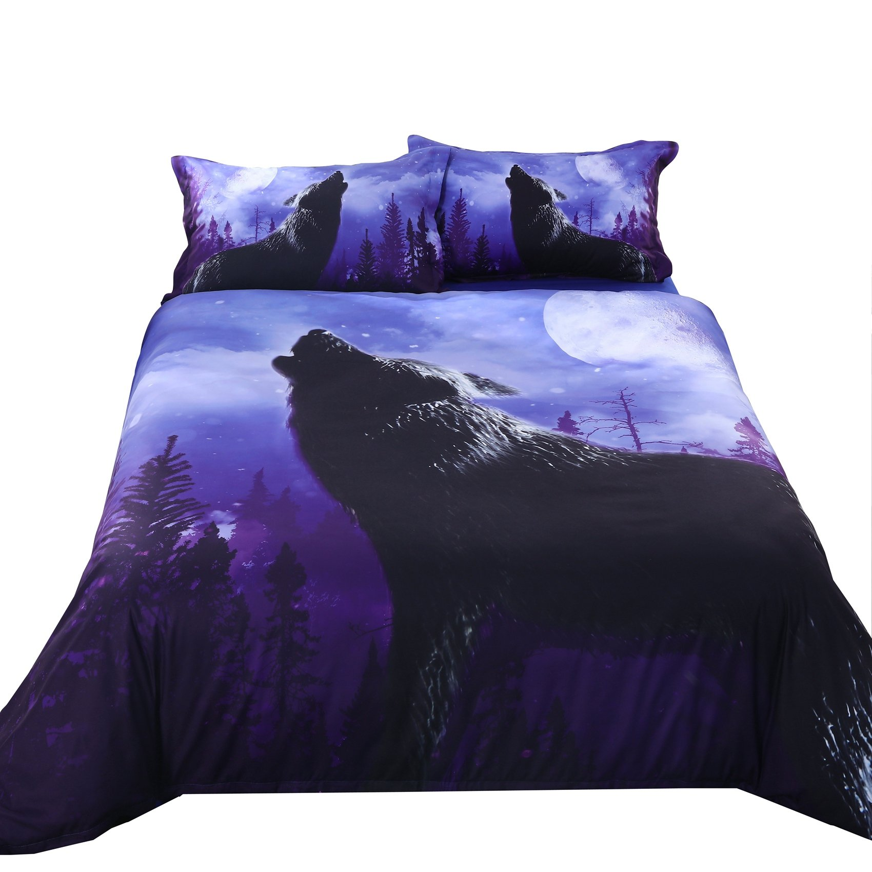 The Howling Wolf in the Moonlight Printed Cotton Blue 4 Peice Duvet Cover Set 3D Bedding 2 Pillowcase 1 Flat Sheet 1 Duvet Cover (King, Wolf)