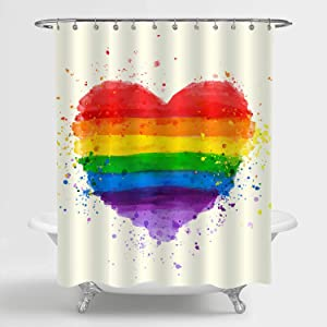 MitoVilla Rainbow Heart Shower Curtain Set with Hooks, Grunge Heart Watercolor Bathroom Accessories for Contemporary Home Decororation, 72
