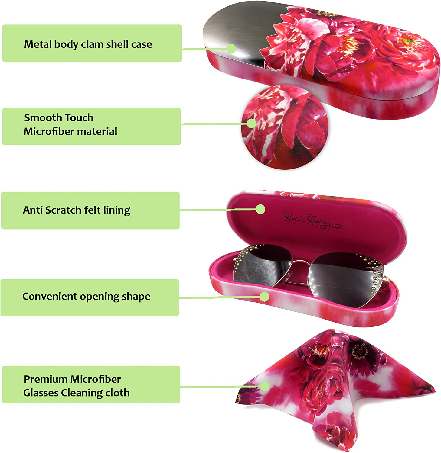 Medium with easy opening lip and cleaning cloth MyEyeglassCase Hard Glasses case